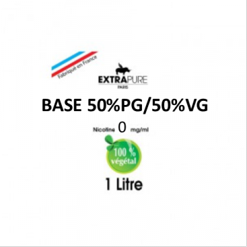 Extrapure - BASE 50 PG 50 VG en 0mg/ml - 1Litre