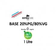 Extrapure - BASE en 0mg/ml 20 PG 80 VG - 1Litre