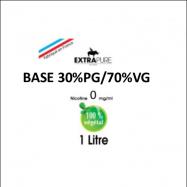 Extrapure - BASE en 0mg/ml 30 PG 70 VG - 1Litre