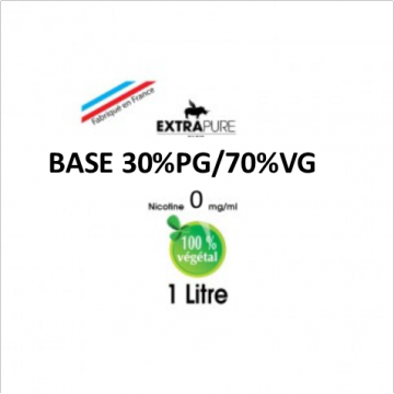 Extrapure - BASE 30 PG 70 VG en 0mg/ml - 1Litre