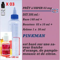 PRÊT A VAPER 200 ml en PINKMAN 3mg de NICOTINE